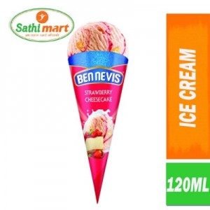 Ben Nevis Strawberry Cheese Cake Flavoured Ice Cream Cone, 120ml