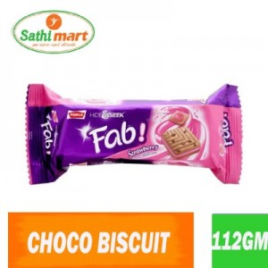 Parle Hide & Seek Fab Strawberry Choco Chip Sandwich Cookies, 112gm