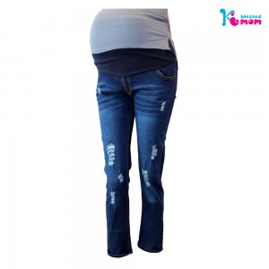 Blue Distressed Stretchable Maternity Jeans Pant