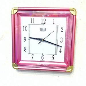 Pink Color Square Wall Clock